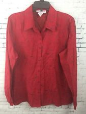 SAG HARBOR Size Large Red Faux Suede Blouse Button Down Shirt NWT