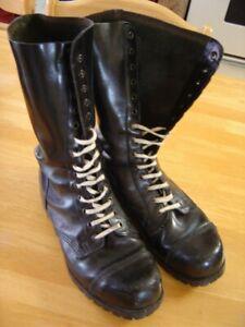 Men's Underground black leather boots 10 steel toe punk 14 eyelet vintage