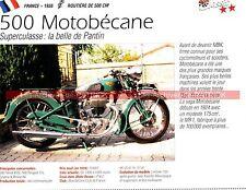 MOTOBECANE 500 SuperCulasse ( Super Culasse ) 1938 Fiche Moto 000217