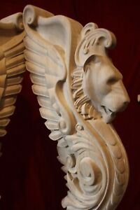 Wooden stairs Oak Decor, unique carved gryphon statue, decorative element.