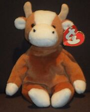 TY 3rd GEN BESSIE the COW  BEANIE BABY - MINT with CREASED TAG (PRICE STICKER)