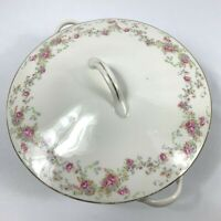 Vintage Warwick Round Tureen With Lid White Pink Roses Gold Trim 8.5""