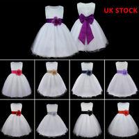 Kids Baby Flower Girls Princess Party Dress Wedding Bridesmaid Bow Sash Dresses