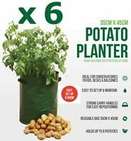 6 x Potato Tomato Bag Planter Grow Your Own Sack Spuds Tub Patio Potatoes Garden