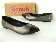 UK 4 SCHUH  SLIP ON FLAT PUMPS PATENT PEWTER BLACK IRRIDESCENT COURT