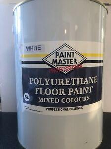 WHITE POLYURETHANE GARAGE/WORKSHOP FLOOR PAINT 5 LT