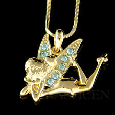 w Swarovski Crystal ~Gold Tone Blue Tinkerbell Tinker Bell Fairy Angel Necklace