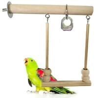 Pet Bird Swing Nature Wooden Parrot Perch Stand Playstand with chewing Toy