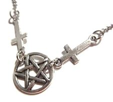 Inverted Pentagram Pentacle Cross necklace Satan Lucifer Satanic occult devil F4