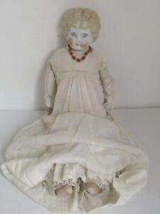 """Antique German 18"""" Blonde China Head c. 1860 Old Clothes"""
