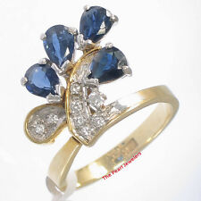 18k Two Tone Solid Gold Diamonds, Natural blue Pear Sapphire Cocktail Ring TPJ