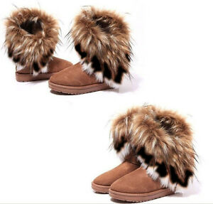 Women Winter Warm Ankle High Snow Boots Fox Fur Thick Shoes Casual Comfort Shoes