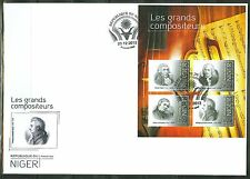 "NIGER 2013 ""GREAT COMPOSERS"" SHEET OF FOUR STAMPS HAYDN BACH SCHUMANN MOZART FDC"