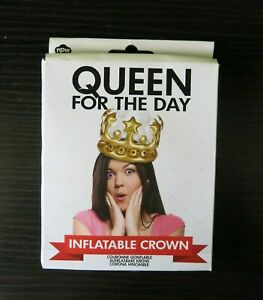 NEW Queen for the Day inflatable birthday crown in gold