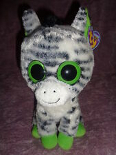 "Zebra Ty Beanie Boo Zig Zag Large 9"" Stuffed Plush Solid green Eyes 2011"