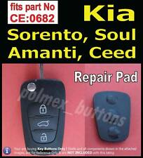 fits Kia Sorento Sportage remote fob No.CE0682- 3 key Buttons Pad Replacement