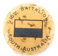 WW1 TIN BADGE. 16TH BATTALION, SOUTH AUSTRALIA. FREE POST IN AUSTRALIA !!