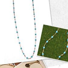 Collier Ras De Cou Perle Fine Résine Turquoise Plaque Or Ref Gigi 2 Promo