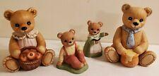 Set of 4 Home Interiors Homco Teddy Bear Figurines Home Decor