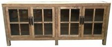 RECYCLED ELM SIDEBOARD/BUFFET WITH GLASS DOORS. 2.1M VINTAGE INDUSTRIAL.