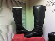 "Authentic BALLIN Black Soft Leather 17"" Tall boots Rear Zip Eu 39 Made in Italy"