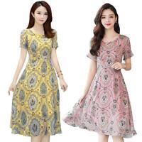 Elegant Floral Print Dress Women Summer O-neck Short Sleeve Midi Dresses