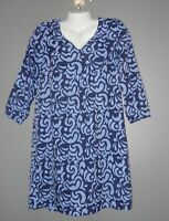 Womens Buckhead Betties Blue and Lavender Print Dress Size M 3/4 Sleeve
