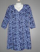Womens Buckhead Betties Blue and Lavender Print Dress Size M 3/4 Sleeve