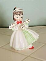 Vintage 1957 Napco Christmas Girl With Presents Gifts Figurine EUC AX1690FC