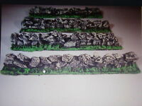 8x unpainted Stone walls  wargames scenery, terrain buildings. 25mm, 28mm 40k