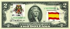 $2 DOLLARS 2013 FLAG & COATS OF ARMS SPAIN UNIQUE LUCKY MONEY VALUE $125