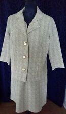 Retro shift dress self belt with jacket scribbly caramel crimplene vgvc D.WARD