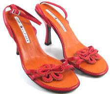Tommy Hilfiger Damen Riemchen Leder Blumen Orange Rot Sandalen mit Absatz 7.5