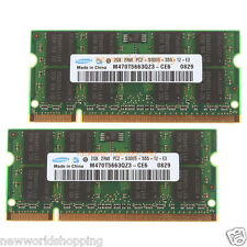 Samsung 4GB 2X 2GB PC2-5300 2Rx8 200pin DDR2-667Mhz SODIMM Laptop RAM Memory CL5