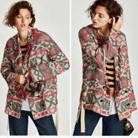 Zara Women's Knit Jacket Aztec Southwest Fringe Double Breasted Boho XS/Small