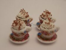Dolls house food: Hot chocolates with whipped cream for four   -By Fran