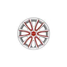 """4 Copricerchi auto universali FARAD coppa ruota  grigio con inserti rossi 15"""""""