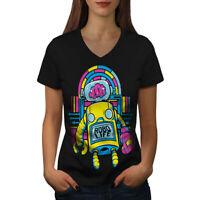 Wellcoda Robo Life Retro Geek Womens V-Neck T-shirt, Robo Graphic Design Tee