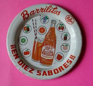 Mexican vintage tin tip tray Dr Brown Barrilitos Orange Soda 1960s