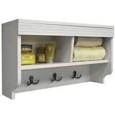 CHUBBY - Wall Mounted Storage Cubby with Coat / Towel Hooks - White KYS37098