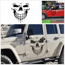 1X Black Skeleton Head Car Hood Decal Vinyl Graphic Side Door Sticker For Truck