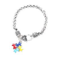 2018 Autism Awareness Cuff Bracelet Bangle Puzzle Piece Pendant Chain Unisex