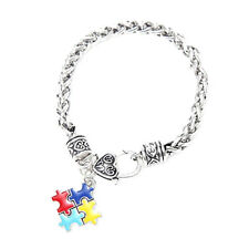 Autism Awareness Cuff Bracelet Charm Bangle Puzzle Piece Pendant Chain
