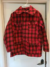 New listing Vintage Woolrich Red Plaid Wool Button Jacket Hunting Coat Insulated USA Size 40