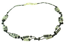 TRIBAL INSPIRED BLACK STRING GOTHIC GLAM GREY BEADED SHORT NECKLACE (ZX2)
