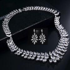18k White Gold GF Necklace Earrings Set made w Swarovski Crystal Stones Bridal