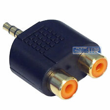 3.5mm Stereo Jack Plug to 2 RCA Phono Sockets Audio Splitter Adapter