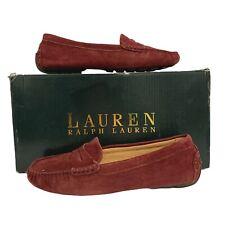 LAUREN RALPH LAUREN Camila Dark Red Genuine Suede Loafers Shoes UK3.5 - B12