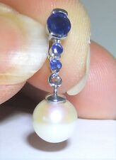 9ct White Gold Sapphire & Real Pearl Drop Pendant