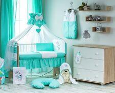 Babybett mit 10-tlg KomplettSet Bestickte Bettwäsche Babybettset Himmel135 x 100